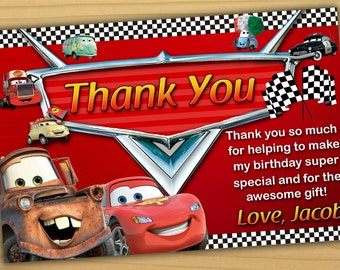 Disney Cars thank you card, Disney Cars birthday card, cars thank you card - Digital file
