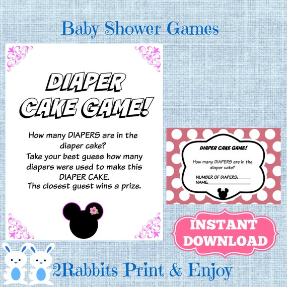 minnie mouse baby shower diaper cake game cards and matching sign