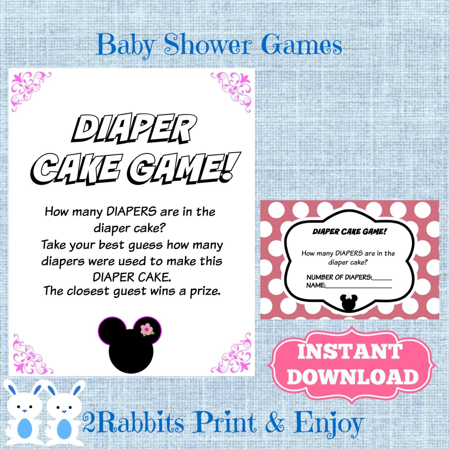 minnie mouse baby shower diaper cake game cards and matching