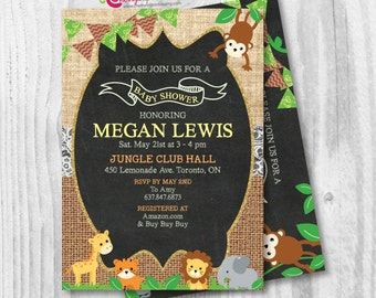 Safari Chalkboard Burlap Rustic Baby Shower Invitation - Giraffe Tiger Elephant Monkey Lion - Printable DIY (JPEG or PDF)