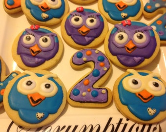 15 Giggle and Hoot iced cookies.