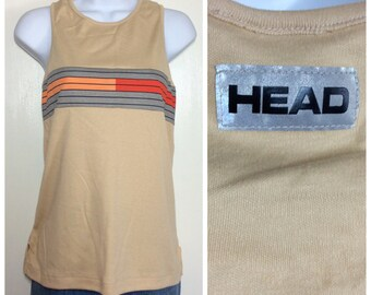 Vintage 1980's Deadstock Head Sportswear striped racer back Tank Top size Large Tan Red Gray Orange striped with tiny Factory Flaw