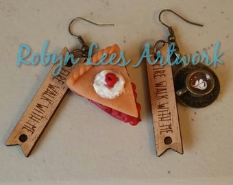 Twin Peaks Inspired Fire Walk With Me Earrings with Cherry Pie & Damn Fine Cup of Coffee on Bronze Hooks