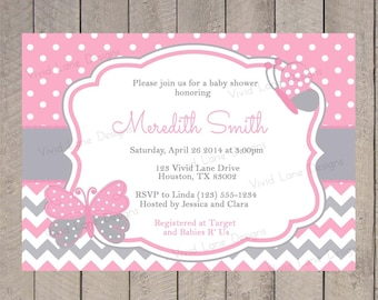 Pink and Grey Butterflies Girl Baby Shower Invite, Printable Invitation, Polka Dots, Chevron - 290