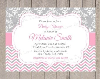 Pink and Grey Girl Baby Shower Invitation, Chevron and Damask, Printable - 316