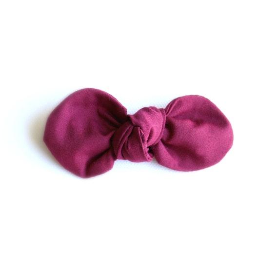 Wine //Maroon  Fabric Bow : Knotty Gal Style on a Clip or Nylon Headband  // Machine Washable