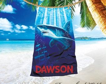 Personalized shark towel, 30 x60 beach towel, under the sea beach towel, custom beach towel, shark theme, ocean themed towels