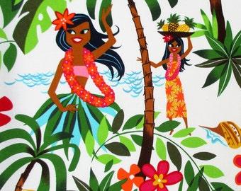 Fabric, Leis, Luaus and Aloha, Hawaiian Hula Girls Fabric White, Alexander Henry, By the Yard