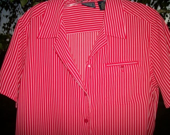 Retro 90s Bright RED & WHITE STRIPES Darling Short Sleeved Blouse, 12 P