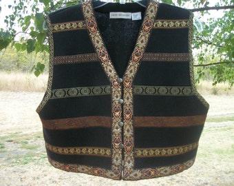 80s Retro GYPSY BOHO COSPLAY Costume Festival Ornate w Gold Ribbons Vest, Lg