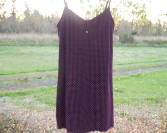 90s DARLING in Retro Creamy DOTS on Warm Purple Soft KNIT Sleepwear Dress, Tomy Hilfiger, Lg