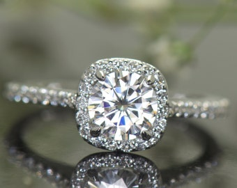6mm Forever One Moissanite Engagement Ring, Round Brilliant Center Stone in Cushion Shape Halo with Diamonds, Fit Flush Design, Kylie B