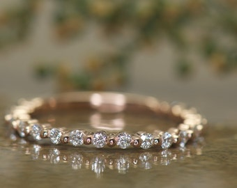 Petite Diamond Wedding Band in rose Gold, Single Shared Prong with Closed Baskets, 1.5mm Wide, 3/4 Eternity, 0.30ctw, Petite Brooke B