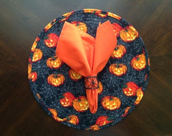 Round Placemats in a Colorful Pumpkin Print