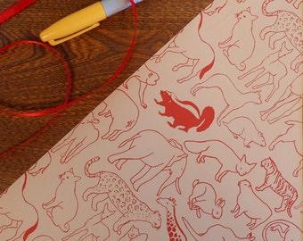 Animal Vintage Gift Wrap Roll 2 yards Rabbit Elephant Lamb Fox Cheetah Tiger Bear Monkey Beaver Rhino & More