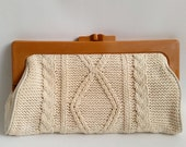 Vintage Cable Knit Sweater Clutch Bag Purse, Off White, Made in Hong Kong