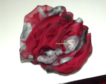 Becky Bows ~OOAK Barrette Hand crafted huge Scarf BIG hair bow Women or Girls giant crimson gray