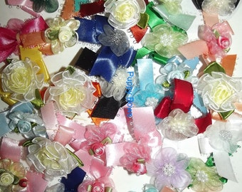 Puppy Bows ~18 Bow color mix ORGANZA FLOWERS dog grooming bows Yorkie Maltese Shih Tzu ~USA seller