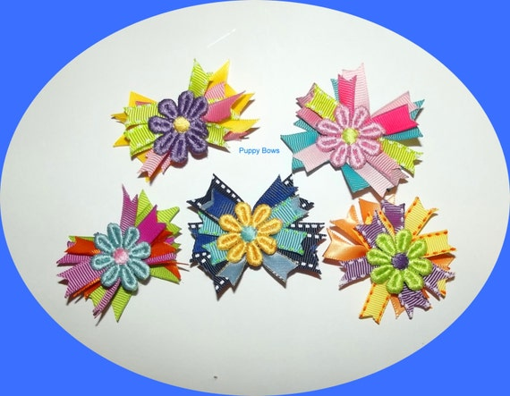 Puppy Bows ~ Colorful daisy spikes dog grooming bow pet hair barrette (fb14)