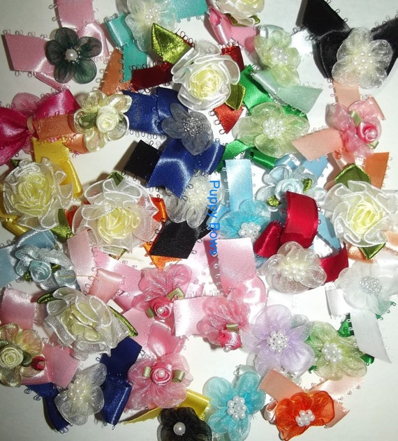 Puppy Bows ~18 Bow color mix ORGANZA FLOWERS dog grooming bows Yorkie Maltese Shih Tzu ~USA seller  (fb27)