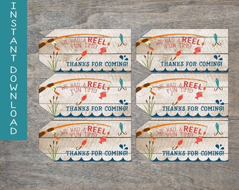 Fishing thank you tags | Reel Fun 1st 2nd 3rd 4th 5th Birthday gift bag favor tags | County Fish lake wood pole