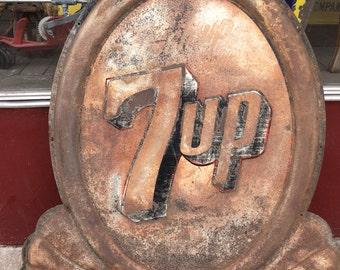 "Vintage 7UP Tin Art Deco Sign - 41"" x 41"""