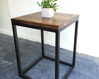 Industrial modern end table with steel base