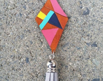 Bohemian Necklace Colorful geometric fringe necklace leather necklace Pendant necklace gift for her