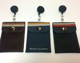 Genuine Leather Badge ID pass, Business Cards, Cash Pouch Case Vertical. Handmade.