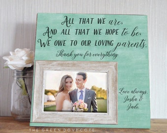 Mother Of Bride Gift - Mother Of Groom Gift - Personalized Rustic Frame - Thank You Wedding Gift  - Personalized Wedding Gift