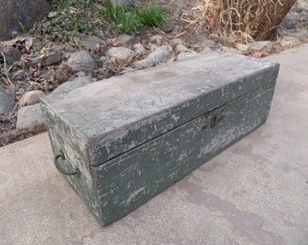 Vintage Wooden Toolbox , Aqua Distressed Toolbox , Cottage Chic