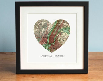 Map of Manhattan, NY Heart Map, Manhattan Map, Manhattan Island, Vintage Map, Antique Map Art, Personalized Map Art, Valentines Day