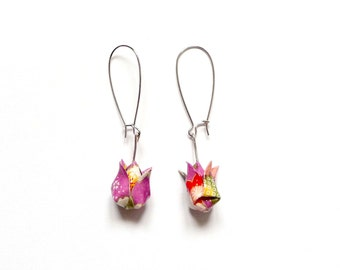 Origami Earrings Purple flowers