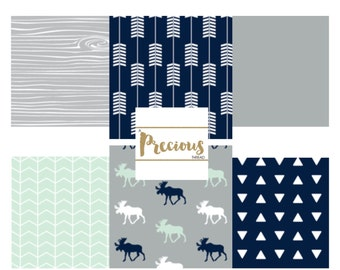 Navy, Mint and Gray  - Baby Boy Bedding, Moose themed Nursery - Premium Custom Crib Bedding - 3 Pieces - Bumperless