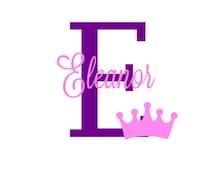 Crown Name Initial Decal, Monogram Nursery Decor, Pink Purple Baby Room, Princess Baby Room, Nursery Room Mural, Princess Crown Baby Shower