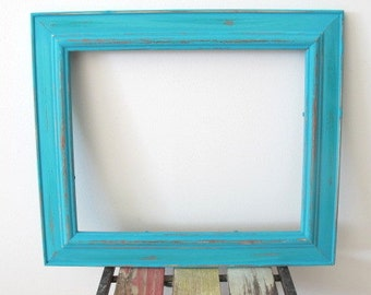 Rustic Frame Beach Distressed Picture Frame, Turquoise Blue Wooden 8x10 Photo Frame Shabby chic frame