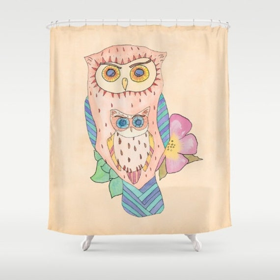 Items Similar To Owl Shower Curtain Southwestern Owl Peach Turquoise Terracotta Watercolor