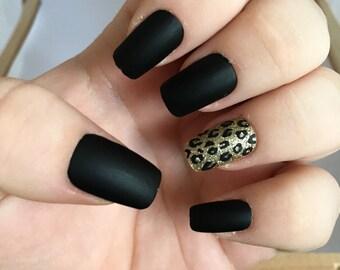 Black Fake Nail Set 1- Matte False Nails  - Cheetah Acrylic Nails- Gold Artificial Nails - Press On Nails - Glue On Nails - Gifts For Her