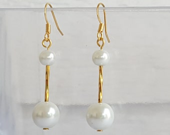 White Glass Pearl Gold Drop Earrings