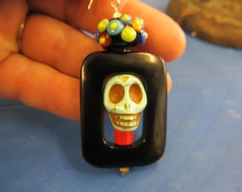 Day of the Dead Turquoise Black Onyx Glass Bead Earrings Pierced