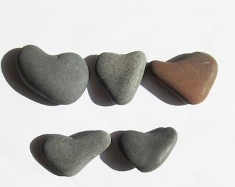 Heart shaped stones set 5 heart stones heart rocks heart shaped rocks natural heart stones heart beach stones hearts wedding stones (HSS-53)