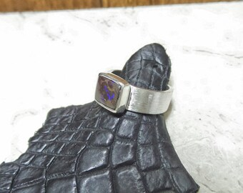 Opal Ring, Boulder Opal Ring, Australian Boulder Opal Ring, Silver Opal Ring, October Birthday Gift, Hand Crafted Opal Ring, Natural Opal