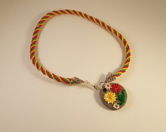Kumihimo braided necklace with Flower pendant