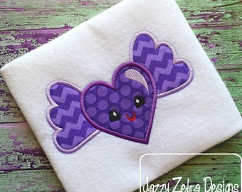Ribbon heart feltie embroidery design aka applique