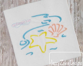 Sea Shells by Sea Shore Satin Stitch Outline Embroidery Design