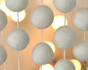 SMALL White Christmas Felt Ball Garland - Best Stocking Stuffers for Women - White Christmas Garland - Decoration