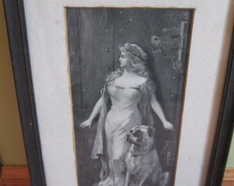 Great Vintage Early 1900's Lady and Dog Framed Print Black and White