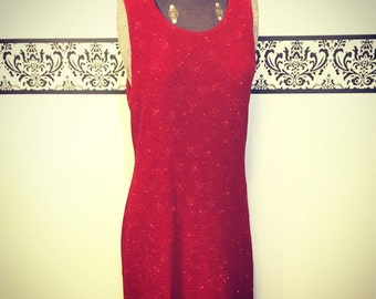 Dazzling Red Glitter Gown by Ronni Nicole, Size 8 Medium, 1990's  Black Tie Gown, Vintage 80's Red Bombshell Dress, 90's Red Pin Up Dress