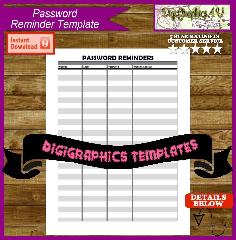 Password Reminder Printable Template Instant Download PDF