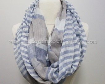 Blue Colorblock and Striped Infinity Scarf